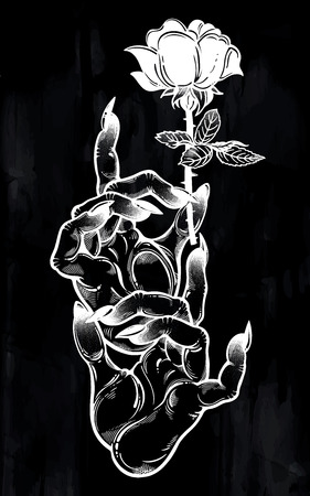 Demonic Gothic witch hands with dark long nails and black rose. Witchcraft extravaganza. Mystic fantasy gesture. Ink art for print, posters, t-shirts and textiles. Vector isolated illustration.