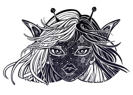 Monster UFO girl. Young Alien magic woman with double exposure face of stars. Alchemy, tattoo art, t-shirt design, adult coloring book page. Isolated vector.