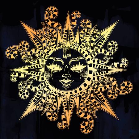 Striped tribal sun star with a human face. Ornamental decoration, folk print. Archivio Fotografico - 121660473