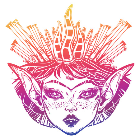Beautiful magic girl with a forest crown. Young elf princess woman with long ears, unibrow and dark eyes. Alchemy, tattoo art, t-shirt design, coloring book page. Isolated vector. Pagan goddess.