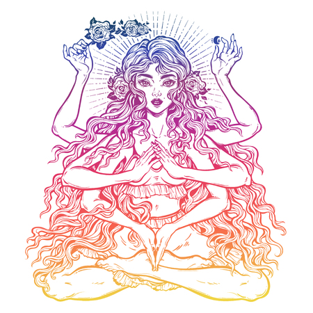 Beautiful Eastern many armed goddess girl in lotus position with long hair and six hands Stock Illustratie