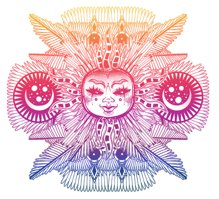 Fantasy inspired winged tribal sun star with a human face. Ornamental decoration folk print. Ethnic tattoo art. Isolated vector illustration. Trendy T-shirt print. Spiritual alchemy symbol or sticker. Ilustração