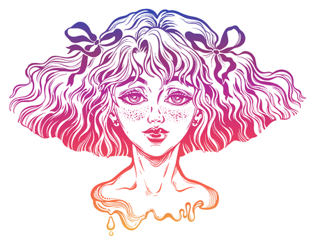 Portrait of the girl with wavy hairstyle and wind in her hair. Cute teen with freckles. Youth, tattoo art, t-shirt design, adult coloring book page. Isolated vector.
