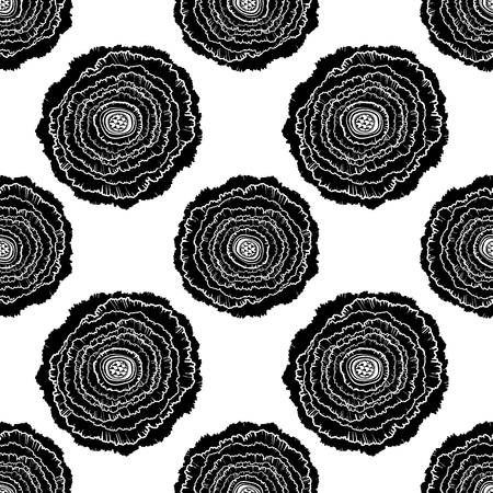 Naive rose flower seamless pattern. Decorative summer background for fabric. . Illustration