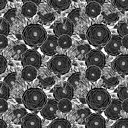 Naive flower with buds seamless pattern. Decorative summer background for fabric. Çizim