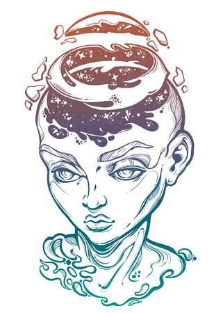 Portriat of the surreal human girl with a head open and space coming out.