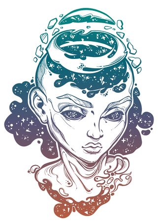 Portriat of the futuristic girl with a head open and space coming out. Ilustração