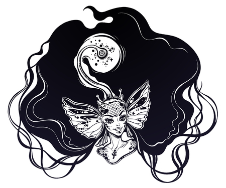 Beautiful mermaid girl portrait with Anglerfish features with light in her hair. Graceful ocean siren in fantasy style.
