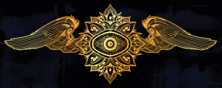 Decorative winged eye of providence. Hand drawn element in ethnic oriental, Indian style.