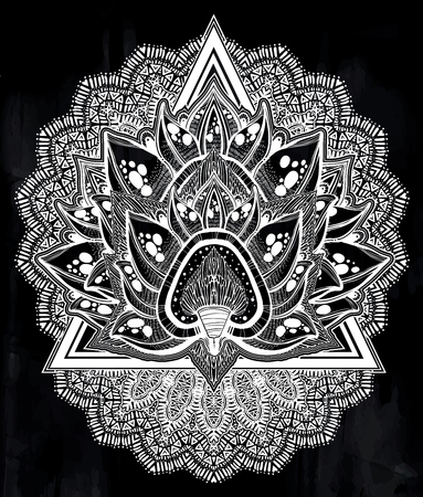 Decorative blossoming lotus flower. Hand drawn element in ethnic oriental, Indian style.