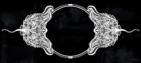 Ornate tribal stingray sea fish circle frame in indigenous Polynesian style.