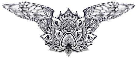 Decorative winged magic lotus flower. Stock Illustratie