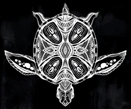 Ornate tribal sea turtle in indigenous Polynesian style.