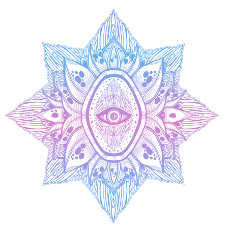 Decorative eye of providence. Hand drawn element in ethnic oriental, Indian style. Stock Illustratie