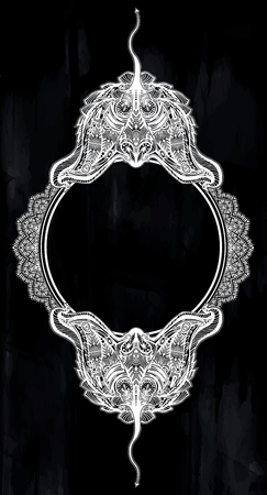 Ornate tribal stingray sea fish circle frame in indigenous Polynesian style.