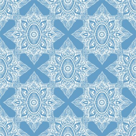Decorative magic eye of providence in a flower seamless pattern. Hand drawn element in ethnic Indian style. Stockfoto - 126323619