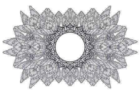 Mehndi winged linear complex ornament frame. Decoration in ethnic spiritual, boho style. Stock Illustratie