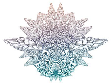 Mehndi winged lotus flower complex ornament pattern. Decoration in ethnic spiritual, boho style. Stock Illustratie
