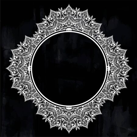 Decorative hand drawn detailed complex ornate circle frame. Stockfoto - 127971477