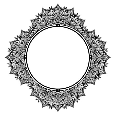 Decorative hand drawn detailed complex ornate circle frame. Stockfoto - 127972608