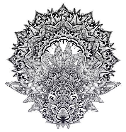 Decorative hand drawn highly detailed complex ornament lotus pattern. Floral art in ethnic spiritual, boho style.
