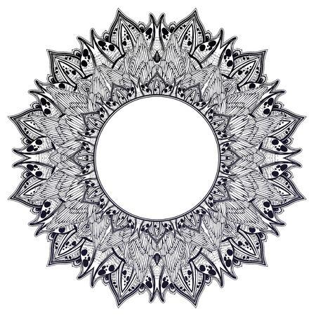 Decorative hand drawn detailed complex ornate circle frame. Stock Illustratie