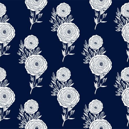 Naive flower with buds seamless pattern. Decorative summer background for fabric. 版權商用圖片 - 127972695