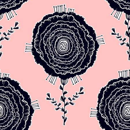 Naive rose flower seamless pattern. Decorative summer background for fabric. . Stock Illustratie