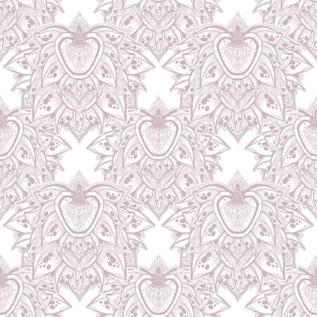 Decorative blossoming lotus flower seamless pattern. Hand drawn element in ethnic oriental Indian tile. Stock Illustratie