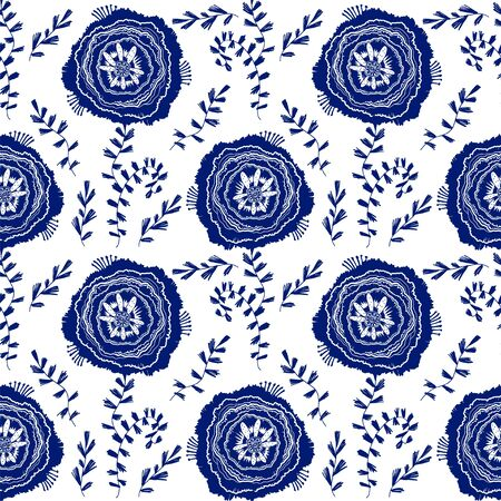 Naive rose flower seamless pattern. Decorative summer background for fabric. . 版權商用圖片 - 128182206