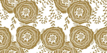 Naive rose flower seamless pattern. Decorative summer background for fabric. . Stockfoto - 128182238