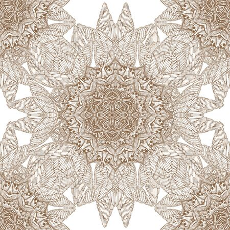 Decorative winged linear complex ornament seamless pattern.