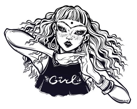 Trendy fashion teen girl. Young woman with curly hair blown by the wind in a tank top. Illustration