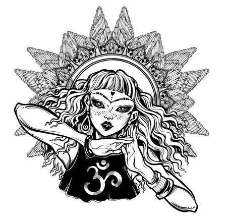 Spiritual mindful girl in a winged mandala.