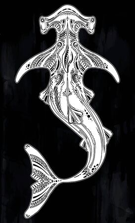 Ornate tribal wild Hammerhead shark dangerous sea fish in indigenous Polynesian style.