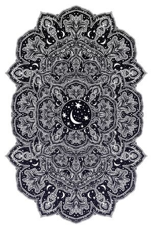 Sacred geometry mindfulness abstract design with stars and moon ornament. 版權商用圖片 - 128532374