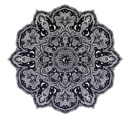 Sacred geometry mindfulness mandala with stars and moon ornament. Stockfoto - 128532372