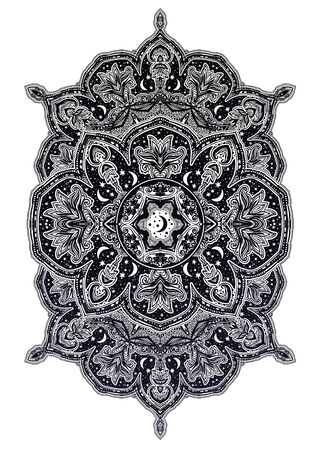 Sacred geometry mindfulness abstract design with stars and moon ornament. 版權商用圖片 - 128532375