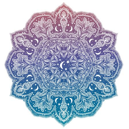 Sacred geometry mindfulness mandala with stars and moon ornament. Stockfoto - 128532380