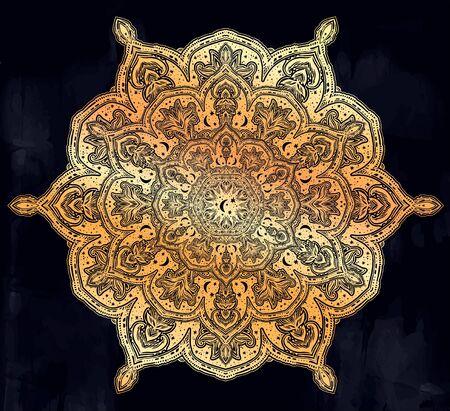 Sacred geometry mindfulness mandala with stars and moon ornament.