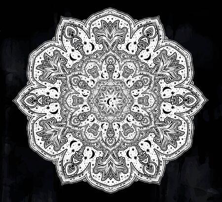 Sacred geometry mindfulness mandala with stars and moon ornament. 版權商用圖片 - 128532386