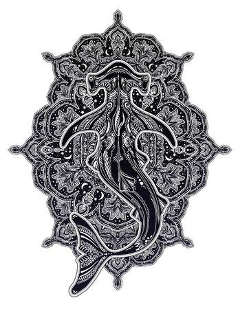Decorative tribal wild Hammerhead shark dangerous sea fish in indigenous Polynesian style with ornament.