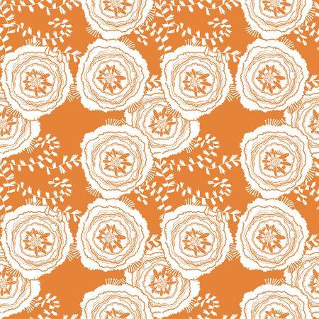 Naive rose flower seamless pattern. Decorative summer background for fabric. . Stockfoto - 128532519