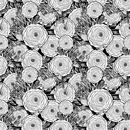 Naive flower with buds seamless pattern. Decorative summer background for fabric. 版權商用圖片 - 128532605