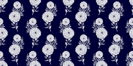 Naive flower with buds seamless pattern. Decorative summer background for fabric. Stock Illustratie