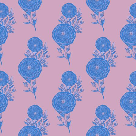Naive flower with buds seamless pattern. Decorative summer background for fabric. 版權商用圖片 - 128532612
