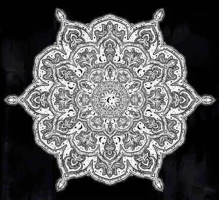 Sacred geometry mindfulness mandala with stars and moon ornament. Banque d'images - 131215575