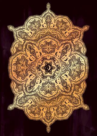 Sacred geometry mindfulness abstract design with stars and moon ornament. Banque d'images - 131215580