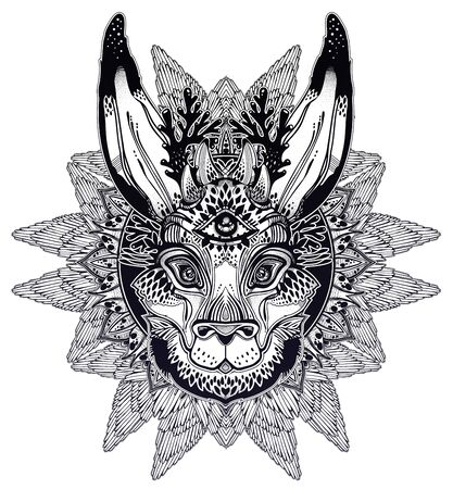 Folk magic jackalope beast with third eye with winged linear rounded frame ornament. 일러스트