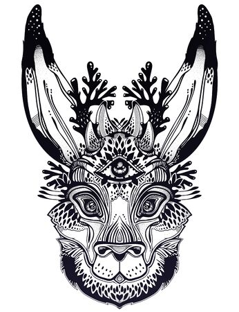 Folk magic jackalope beast with third eye. Ideal vintage folklore creature, tattoo art, boho design..
